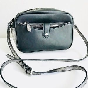 GILI Black Metallic Leather Cross Body Purse